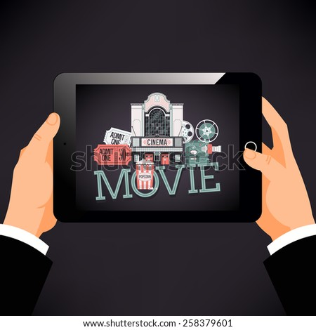 Cool vector concept design on mobile device entertainment movie watching with detailed film projector, admit one cinema theater tickets, popcorn and beautiful theater building facade - stock vector