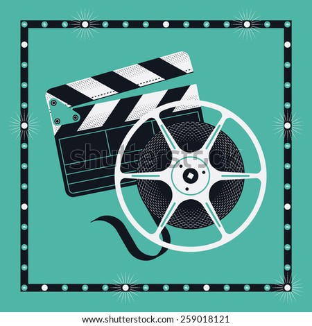 Cool vector concept design with clapperboard and cinema motion picture film reel in marquee square frame - stock vector