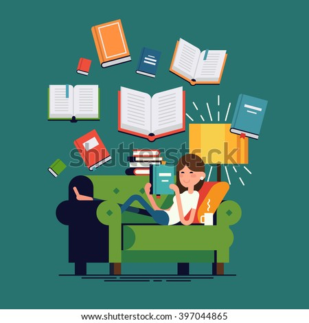 Cool vector concept illustration on reading with woman reading book lying on couch and flying books on background. Young adult girl having a rest with good book. Girl enjoying good book on couch - stock vector