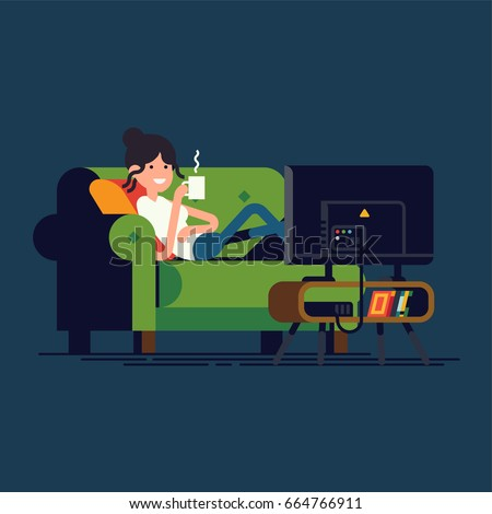 Cool vector concept illustration on woman lying on couch watching TV. Young adult girl lying on sofa in front of television screen holding mug of hot beverage