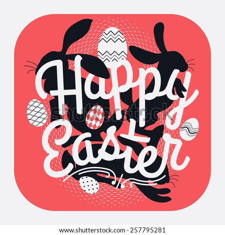 Cool vector concept rounded corners square design on Happy Easter |  Web icon design on Easter with creative lettering, bunny rabbit silhouettes and decorative ornamental eggs  - stock vector