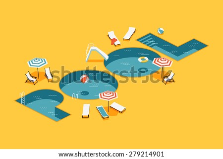 Cool vector creative concept design on isometric letters shaped swimming pool with chaise lounges, parasol umbrellas, beach ball and more - stock vector
