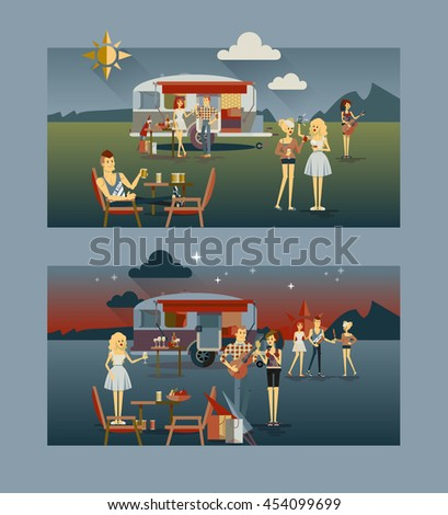 Cool vector day and night landscape with trailer car, flat character design of young people travelers. Student tourists friends and couple ready to their road trip. Woman and man having summer trip - stock vector