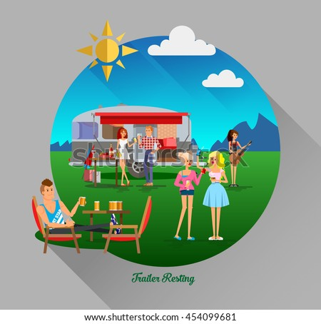 Cool vector day landscape in circle composition with trailer car, flat character of young people travelers. Student tourists friends, couple ready to their road trip. Woman and man having summer trip - stock vector