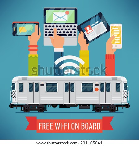 Cool vector detailed creative concept design on subway underground train car with wi-fi access. Internet in mass transit and transport - stock vector