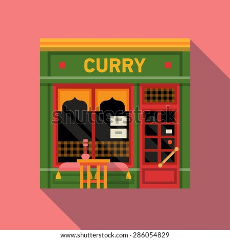 Cool vector detailed flat design exotic oriental indian curry restaurant facade background. Ideal for restaurant business web publications and graphic design - stock vector