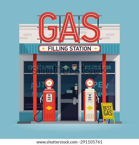Cool  vector detailed flat design retro gas filling station illustration. Transport related service building  Gasoline and oil station - stock vector