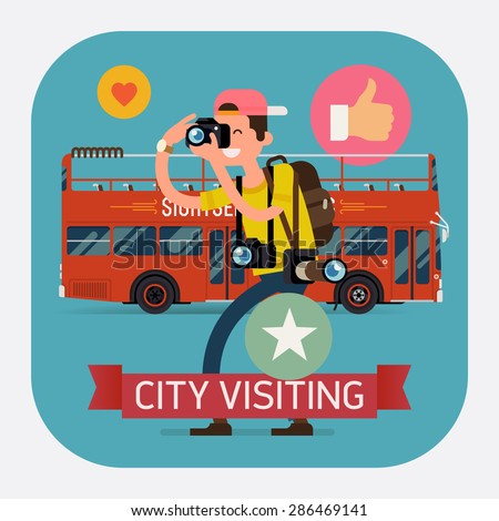 Cool vector detailed web icon on city visiting with professional photographer and double decker touristic city bus. Ideal for web publications, blogs and social media  - stock vector