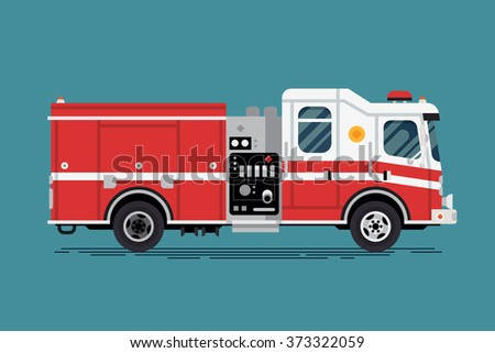 Cool vector emergency vehicle fire engine truck in trendy flat design. Firefighter operations transport fire appliance or apparatus - stock vector