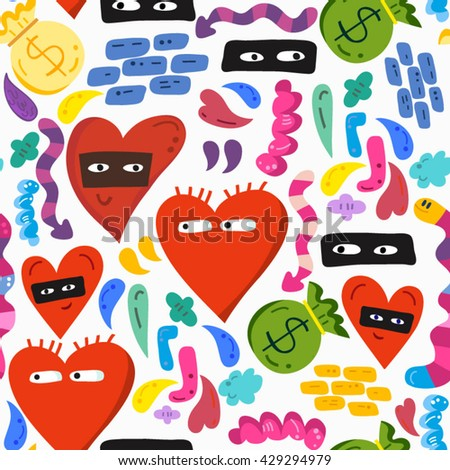 Cool vector fashionable pattern of hearts and graffiti elements in bright colors. - stock vector