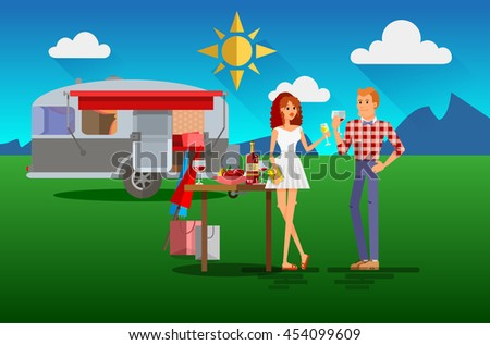 Cool vector flat character design of young people travelers with trailer car. Student tourists friends and couple ready to their road trip. Woman and man having summer holidays trip - stock vector