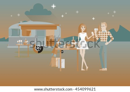 Cool vector flat character design of young people travelers with trailer car. Student tourists friends and couple ready to their road trip. Woman and man talking drinking having summer holidays trip - stock vector