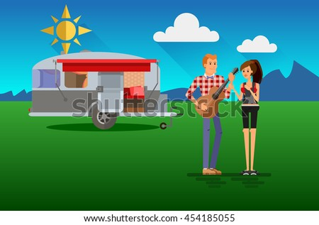 Cool vector flat character design of young people travelers with trailer car. Student tourists friends and couple ready to their road trip. Woman and man plaing guitar having summer holidays trip - stock vector