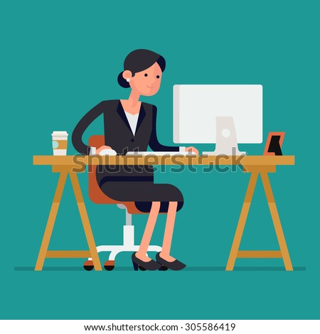 Cool vector flat character design on business woman working in office behind her desk with desktop computer and coffee in paper cup | Business woman using computer  - stock vector
