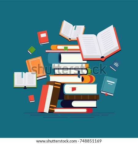 Cool vector flat design illustration on reading with abstract pile of books and flying around open and closed books. Knowledge, learning and education concept design