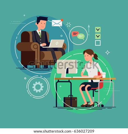 Cool vector flat design on business communication featuring businessman sitting in armchair with laptop and business woman working in office. Business network concept illustration
