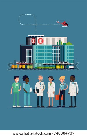 Cool vector flat design on medicine profession. Clinic or hospital team and building. Surgeon, nurse, doctor, paramedic, medic. Female and male medical workers line-up in flat design, isolated