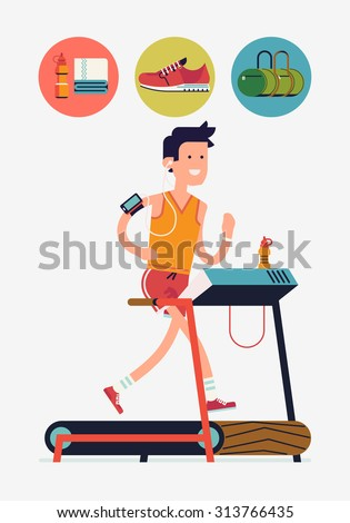 Cool vector flat design on young adult man running on treadmill in fitness gym with essential running round icons with water, towel, sport bag, shoe   Sport fitness friendly female character running  - stock vector