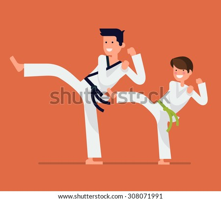 Cool vector flat design on young karate student with his teacher characters | Martial arts for kids | Karate class young student and master in action - stock vector