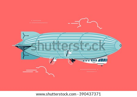 Cool vector flat design zeppelin air ship with gondola cabin and ducted fans. Airship dirigible airway travel transport illustration - stock vector