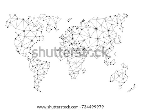 Cool vector flat line abstract world map, polygonal style