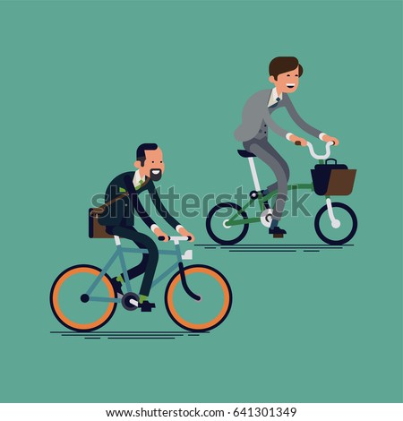 Cool vector illustration on businessmen on bicycles cycling to work. Modern office workers using bicycle as an urban transport. Flat character design on caucasian men in formal suits riding bike
