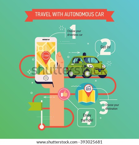 Cool vector infographics concept layout on travel with autonomous car. Self-driving urban car mobile application in use. Future of transportation driverless car service. Robotic car illustration - stock vector