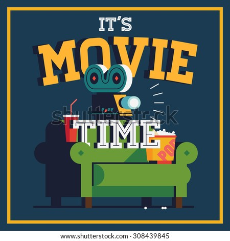 Cool vector 'It's Movie Time' web banner or poster template | Trendy ...