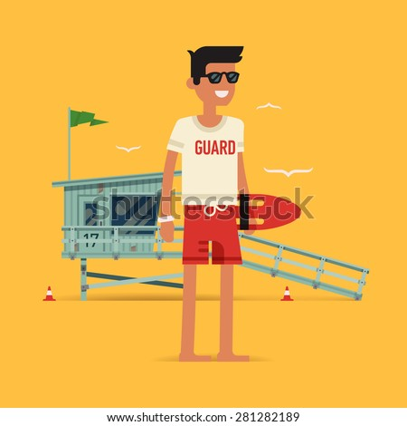 Cool vector modern flat character design on young male lifeguard standing full length holding rescue buoy with lifeguard tower in background - stock vector