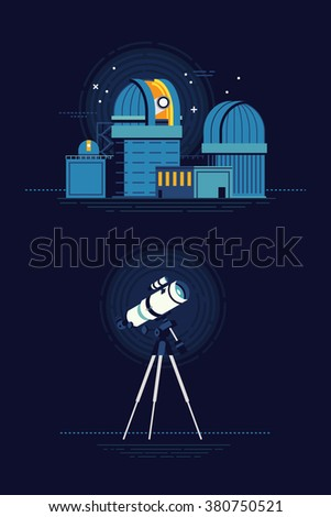 Cool vector modern observatory at night with telescope flat illustration. Astronomy science planetarium building and instrument equipment for celestial bodies observation - stock vector