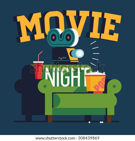Cool vector 'Movie Night' flat design illustration | Trendy concept design on home movie watching entertainment with green sofa couch and film projector. Ideal for web, graphic and motion design - stock vector
