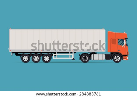 Cool vector semi-trailer european flat nose truck towing engine transport web icon or design element, side view, isolated | Road freight transportation illustration  - stock vector