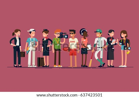 Cool vector set of different profession characters in flat design. Diverse group of specialists, workers and professionals. Men and women of different careers and jobs standing together