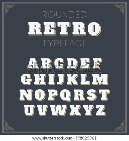Cool vector set of rounded retro font in white colour on dark background - Retro decorative lettering alphabet with shadow  - Elegant and stylish mono line border - stock vector