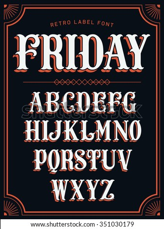 Cool vector set of western style label font in white color on black background. Retro decorative lettering alphabet with shadow featuring stylish frame border design element  - stock vector