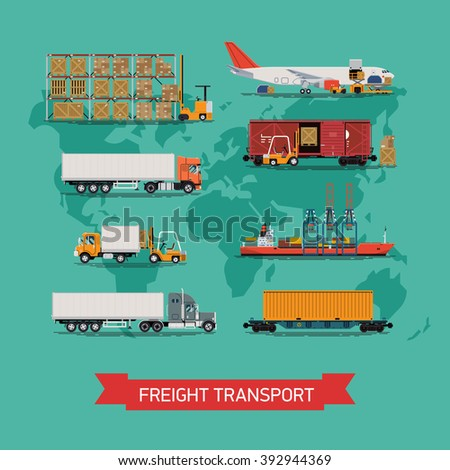 Cool vector set on worldwide shipping, heavy transport, delivery ways and logistics in business and industry with warehouse, trucks, airplane, railway and seaway cargo ship with abstract world map - stock vector
