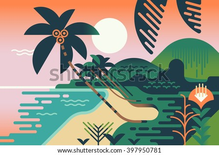 Cool vector summer vacation exotic travel destination background. Paradise palm tree island sand shore illustration in flat design. Geometric stylized tropical landscape. Abstract jungle and sea shore - stock vector