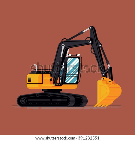 Cool vector tracked excavator heavy industrial machine illustration in flat design. Heavy construction or building equipment item digger isolated. Trackhoe standing ready to work  - stock vector