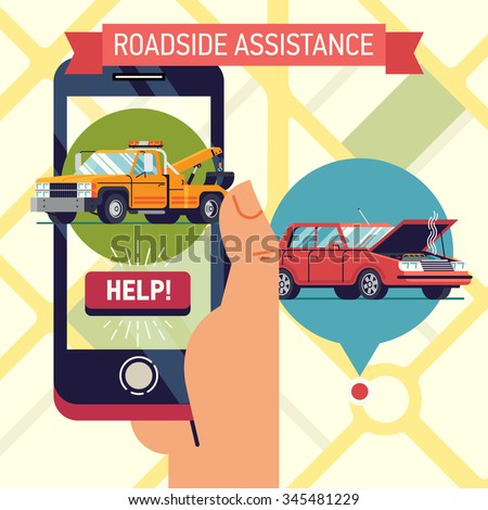 Cool vector trendy flat design visual on roadside assistance application with hand holding mobile phone with towing truck icon and help button with wrecked car location pin on city map on background - stock vector