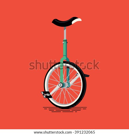 Cool vector unicycle illustration. Circus, performer or hobby pedal drive one wheel transport vehicle - stock vector