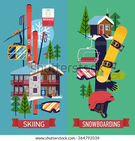Cool vector vertical web banners posters stock vector for Ski designhotel