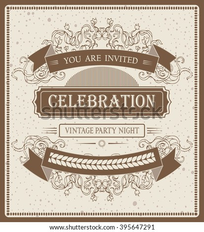 cool vector vintage invitation template for text.