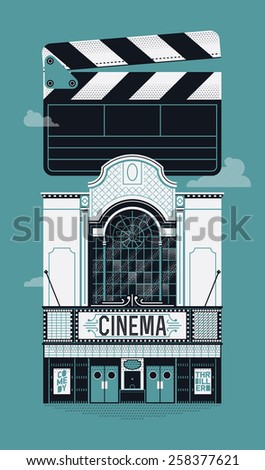 Cool vector web banner or poster design on cinema with beautiful detailed retro motion picture movie theater building facade and clapboard - stock vector