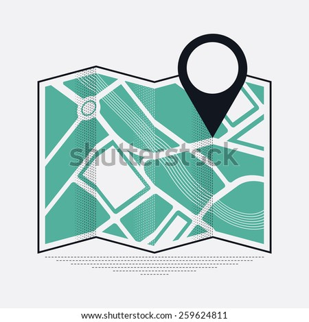 Cool vector web or application icon on location mark and position on map with abstract streets and river bed represented - stock vector
