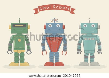 Cool vintage robots vector illustration - stock vector