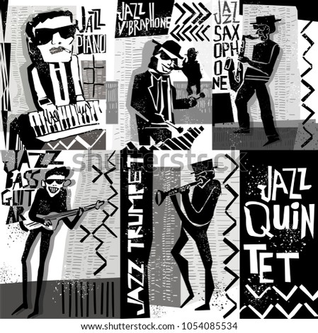 cool vintage vector jazz band poster stock vector 1054085534