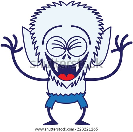 Cool werewolf with big head, bulging eyes, blue pants, blue fur and sharp fangs while clenching its eyes, having fun, laughing enthusiastically and in a very happy mood - stock vector