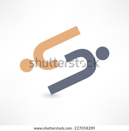 Cooperation and partnership icon. Logo design. - stock vector