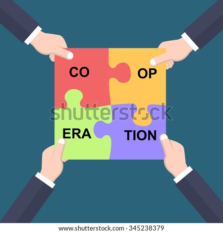 Cooperation concept hands joining puzzle pieces - stock vector