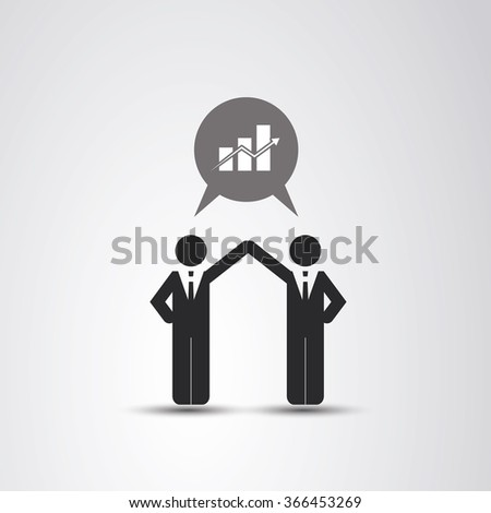 Cooperation - The Real Leader - Business Men Icon - stock vector
